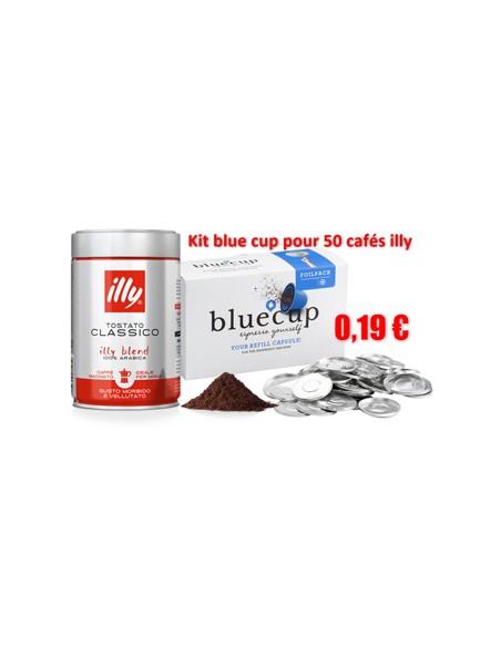 Une inspiration de combinaison café moulu Illy Classique avec ses 50 opercules Blue Cup